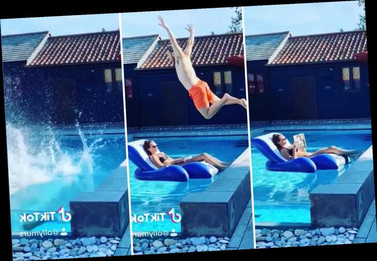 Olly Murs makes a splash narrowly avoiding his girlfriend Amelia floating in the pool at his Essex mansion