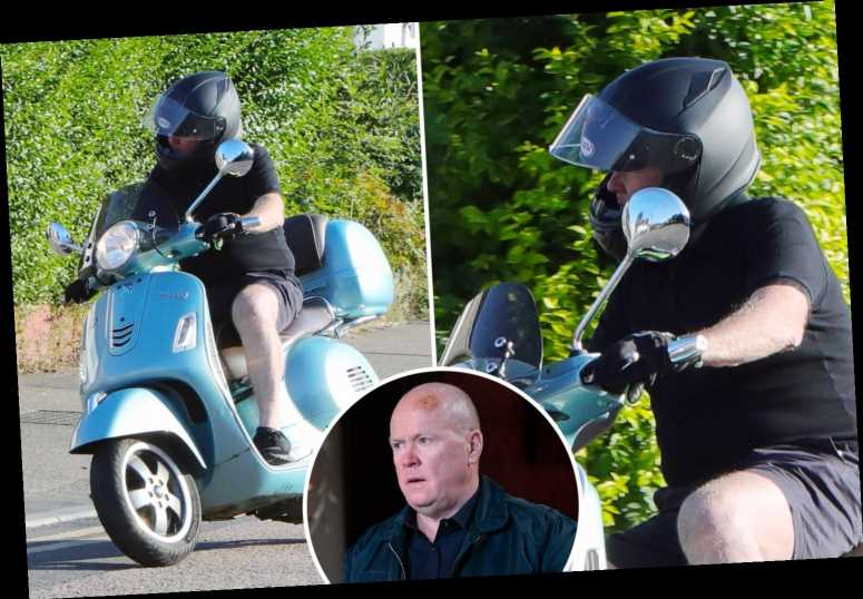 EastEnders' Steve McFadden returns to filming on soap set as he's spotted arriving on his moped