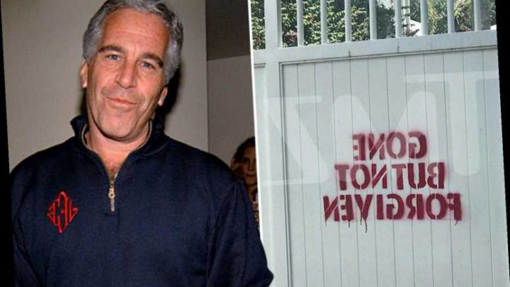 Epstein's Florida mansion is vandalized with 'gone but not forgiven' message in red paint – to look like blood – The Sun