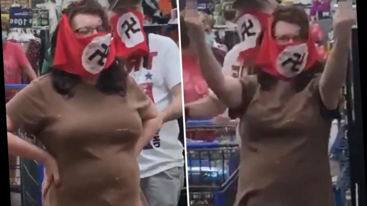 Couple wear SWASTIKA flags around their faces at Minnesota Walmart to protest statewide face mask mandate