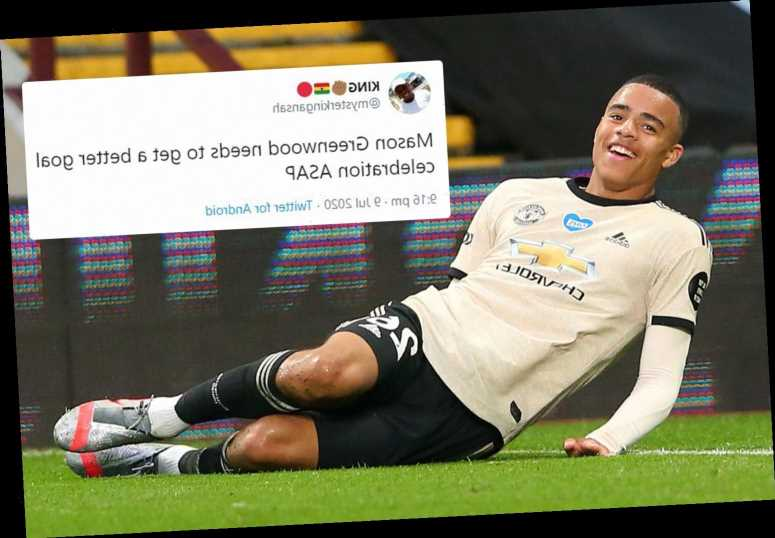 Man Utd fans beg Mason Greenwood to get a better goal celebration after dodgy tumble against Aston Villa