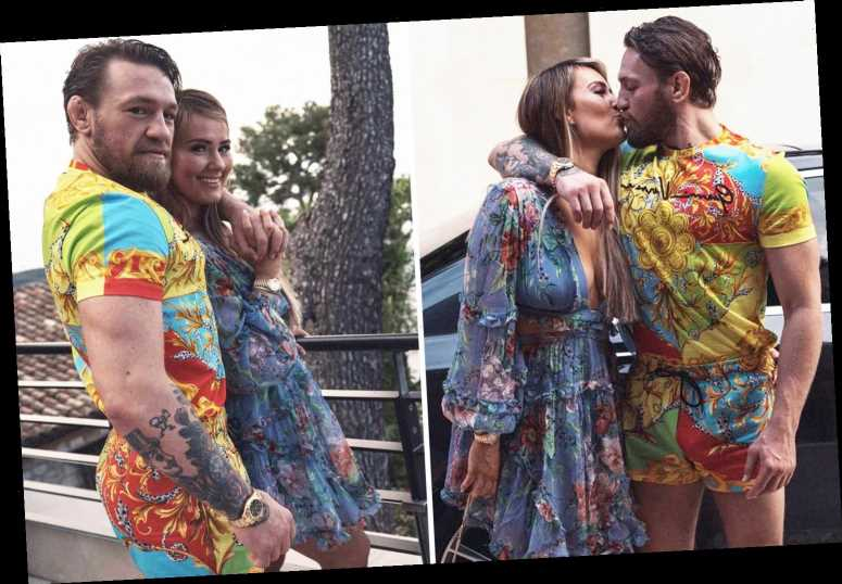 Conor McGregor wears £800 Versace outfit as retired UFC star kisses Dee Devlin on his 32nd birthday