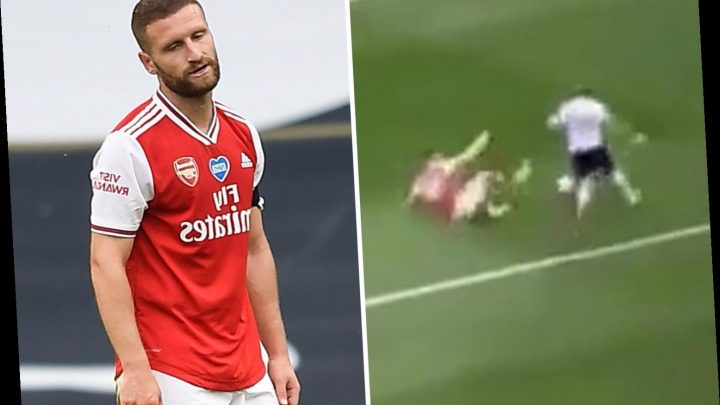 Watch Arsenal star Mustafi's 'worst slide tackle ever' as he spectacularly fails to get ball off Kane in Tottenham loss