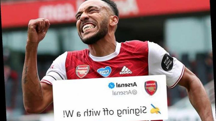Arsenal official account hint at Aubameyang new contract with 'signing off with a W!' and snap of striker amid talks