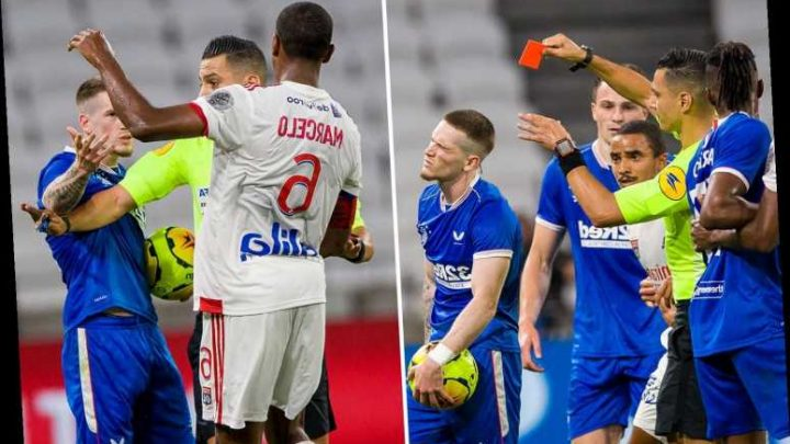 Rangers star Ryan Kent sees first half red card for slapping Lyon star Marcelo in Veolia Trophy opener – The Sun