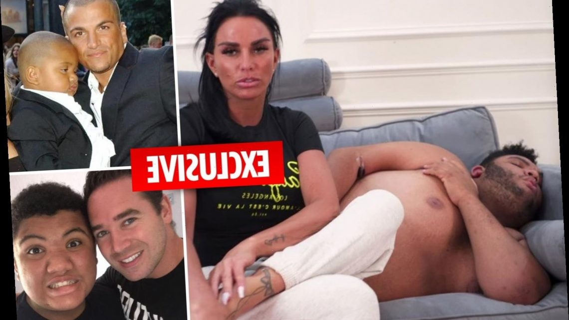 Katie Price is supported by exes Peter Andre and Kieran Hayler as Harvey recovers from chest pains after hospital dash