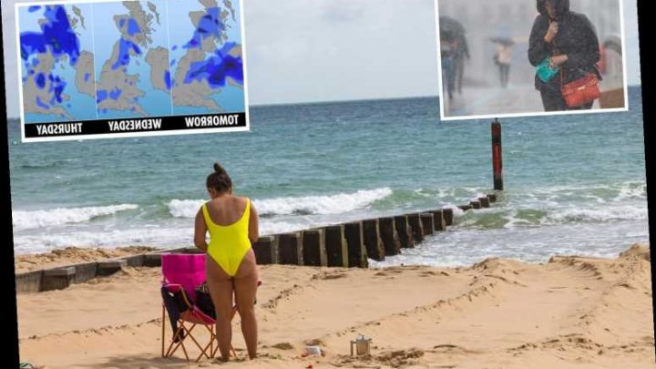 UK weather forecast – Brits to be lashed with four days of torrential rain before weekend of glorious 21C sunshine