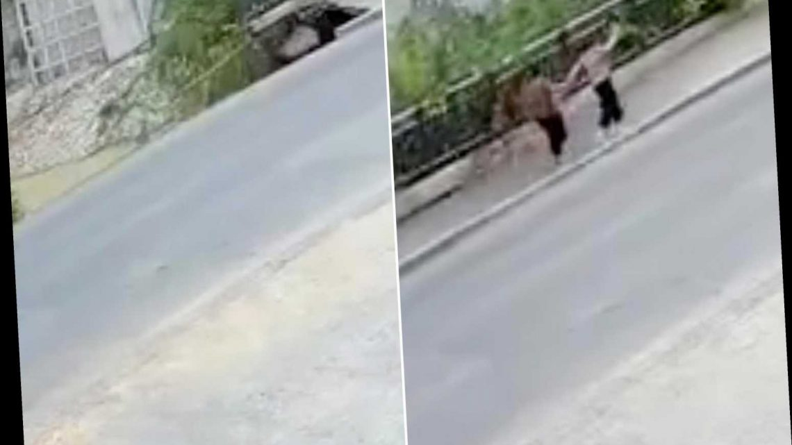 Wild video shows moment two people are swallowed by sidewalk in China