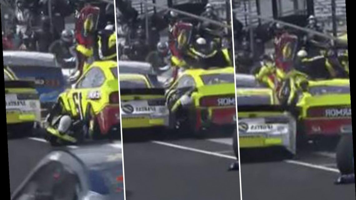 Watch horrific moment NASCAR pit-crew is RUN OVER and makes miracles escape during dramatic crash at Brickyard 400