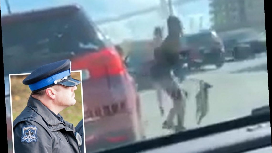 Cops investigate woman who used terrified puppy as weapon by swinging dog on its leash in road rage clash – The Sun