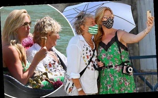 Rod Stewart and Penny Lancaster sport vibrant face masks in Venice