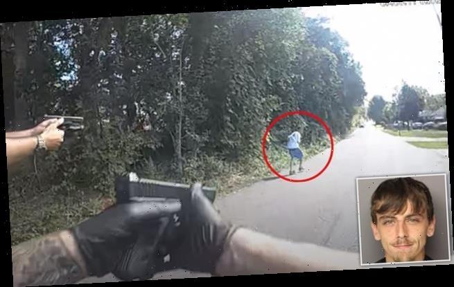 Moment five South Carolina deputies shot armed man