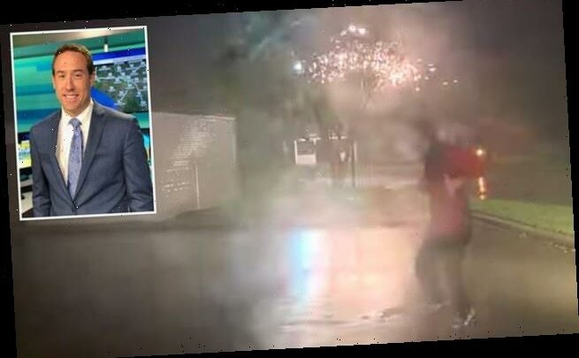 Weather man almost hit by bolt of electricity from damaged powerlines