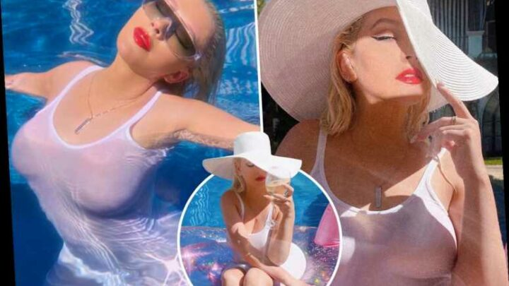 Busty Christina Aguilera shows off her assets in a pool while wearing a white see-through T-shirt dress