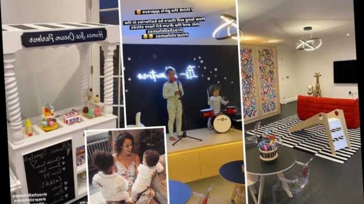 Rochelle Humes shows off her kids' incredible new playroom which comes with a STAGE and a slide