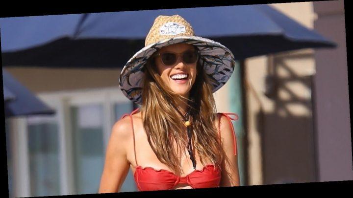 Alessandra Ambrosio Plays Cornhole with Friends on the Beach