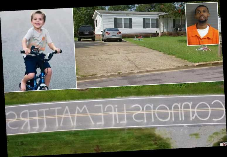 Street mural painted for Cannon Hinnant, 5, who was shot dead on his bike 'by a neighbor' – as donations top $700K