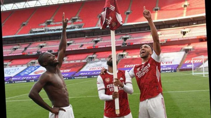 Watch Aubameyang shout 'London is f***ing red' as Arsenal captain celebrates with Pepe and Lacazette after FA Cup