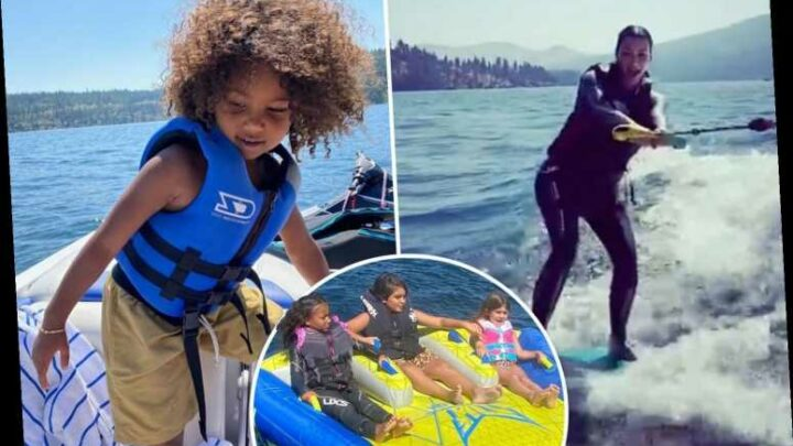 Kim Kardashian goes wakeboarding with North, Saint, Mason and Penelope as she tries to 'save marriage' to Kanye West