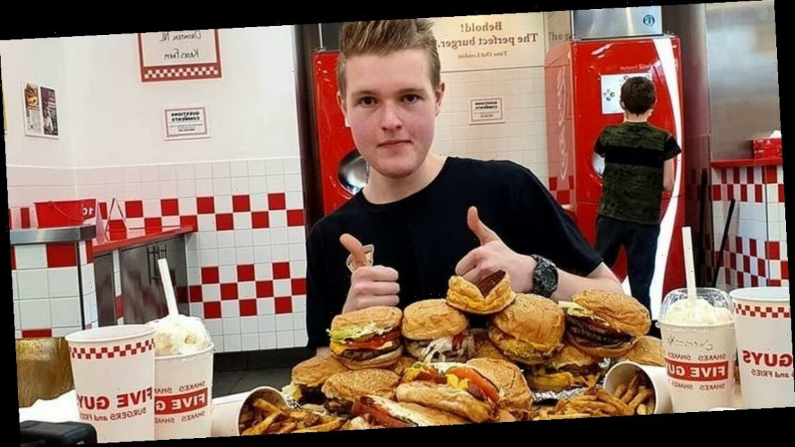 Lad eats entire Five Guys menu in 60 minutes in epic Man vs Food-style challenge