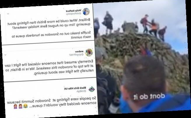 Moment scuffle breaks out on summit of Snowdon 'over queue jumping'