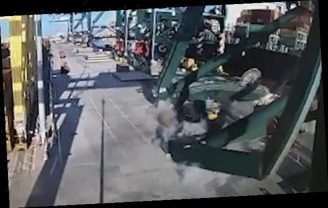 Crane collapses with the operator still inside after it is hit by ship