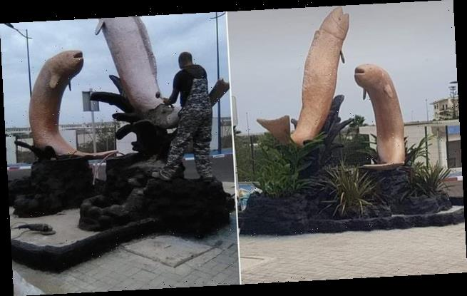 Moroccan town demolishes 'pornographic' fish statues