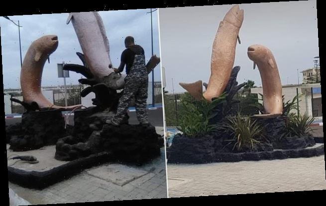 Moroccan town demolishes 'pornographic' fish statues