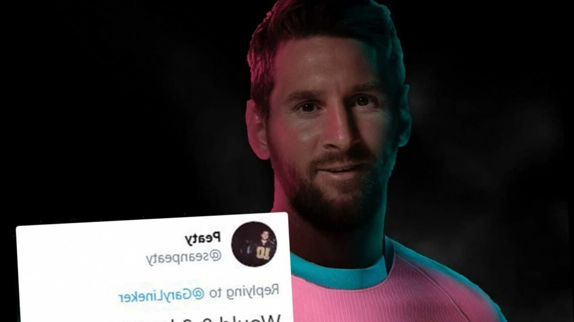 Lionel Messi awkwardly smiles while modelling new Barcelona pink strip as fans joke 'now we know why he wanted transfer'