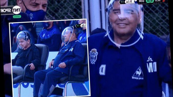 Diego Maradona wears huge visor as Argentina legend and family arrive at San Lorenzo stadium for Gimnasia clash