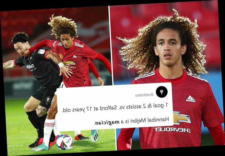 Man Utd fans go wild as teen star Hannibal Mejbri scores and makes incredible assists in 6-0 drubbing of Salford