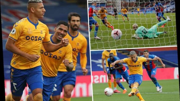 Crystal Palace 1 Everton 2: Calvert-Lewin and Richarlison strikes fire Toffees top of Premier League after flying start