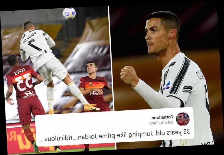 Watch Cristiano Ronaldo score outrageous header and 'leap like prime Jordan' as Juventus star makes goalscoring history