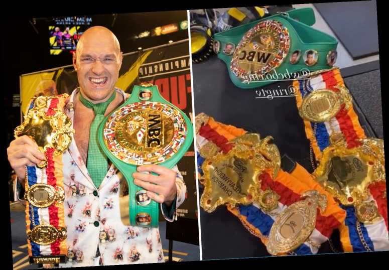 Tyson Fury shows off Ring Magazine and WBC belts and reveals they are perfect pick-me-up for when he's 'feeling down'