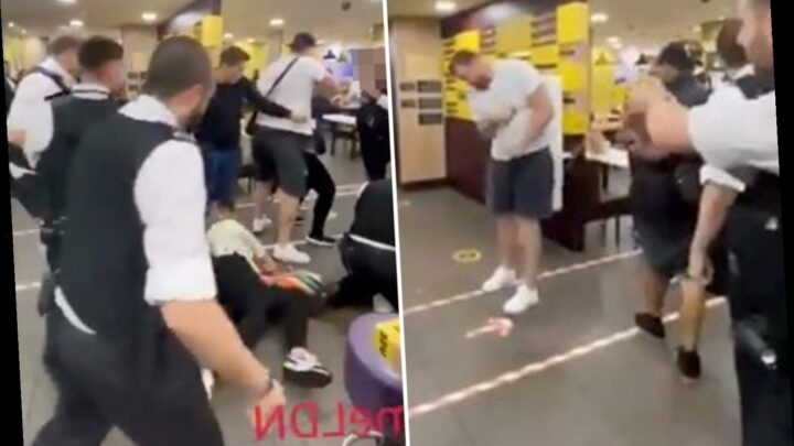 Huge McDonald's brawl sees man Tasered as women batter cops trying to make arrests