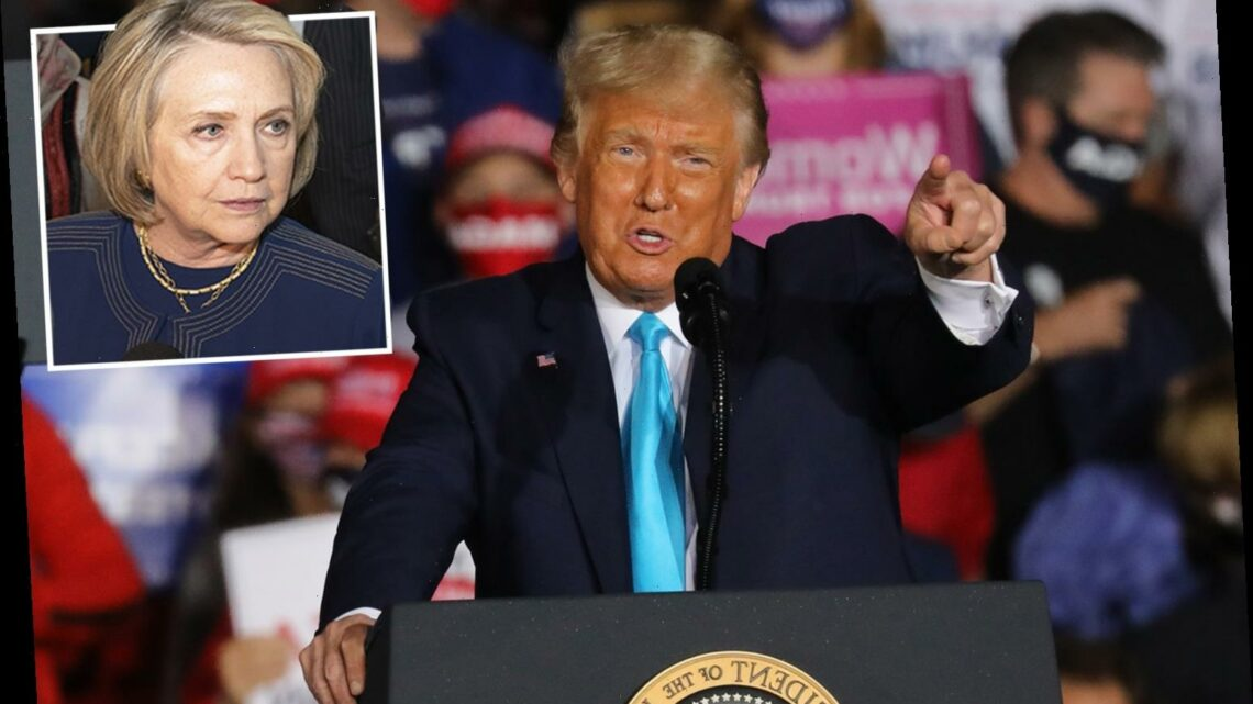 Trump encourages 'LOCK HER UP' chants about Hillary Clinton and says Bill 'is afraid of her' during raucous rally