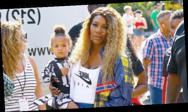 Serena Williams' Daughter Olympia, 3, Takes After Mommy & Practices Her Tennis Backhand — Pic