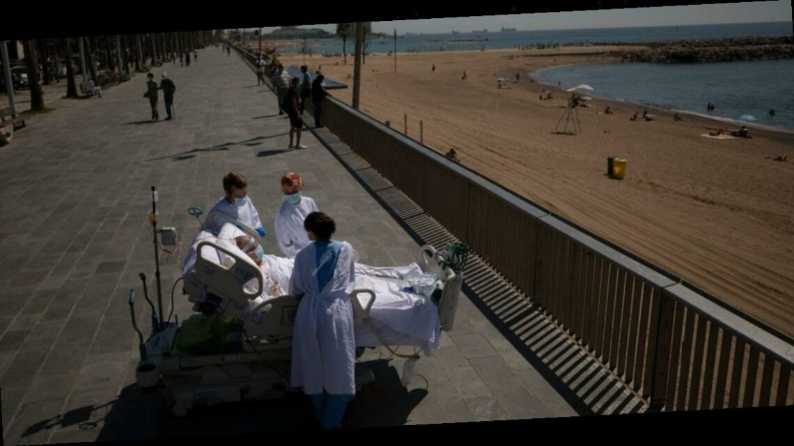 Doctors at a seaside hospital in Barcelona are bringing coronavirus patients to the beach to see if it helps them recover from long ICU stays
