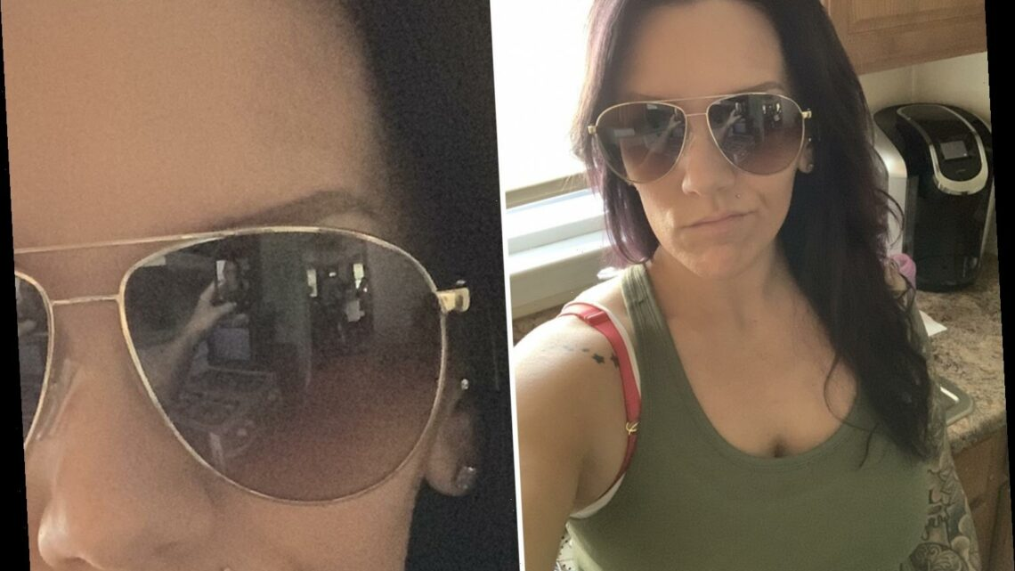 Terrified mum poses for a selfie then spots spooky figures in her shades – so can YOU work out what's going on?