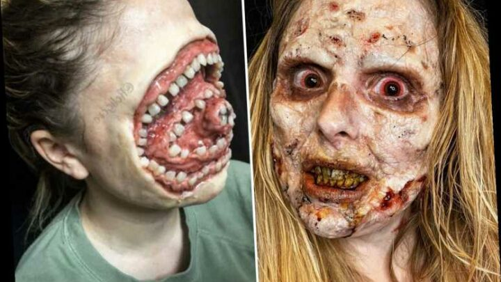 Horrifying pics reveal make-up artists' eye-popping Halloween transformation