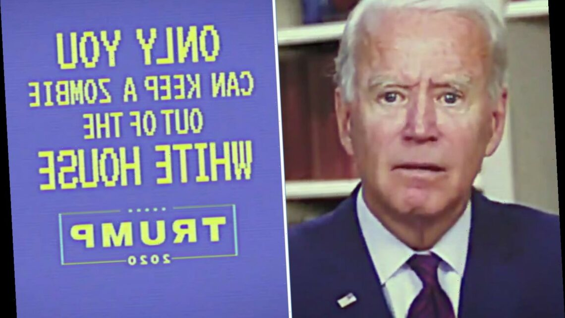 Donald Trump Jr tweets new ad slamming Joe Biden as he tells voters to 'Keep a zombie out of the White House!'