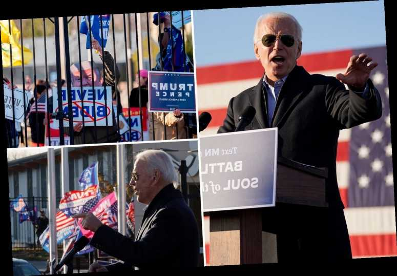 Biden calls Trump supporters 'UGLY folks' after losing his cool as they beeped horns during drive-in rally in Minnesota