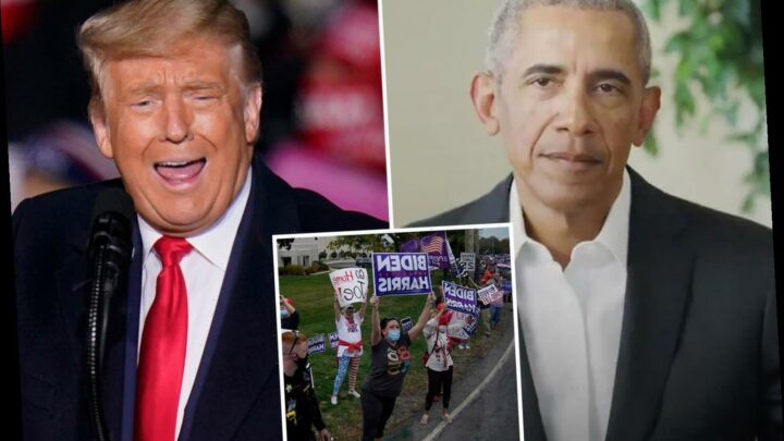 Obama AGAIN blasts Trump in 'tipping point' election and backs 'inspiring' young people 'marching in the streets'