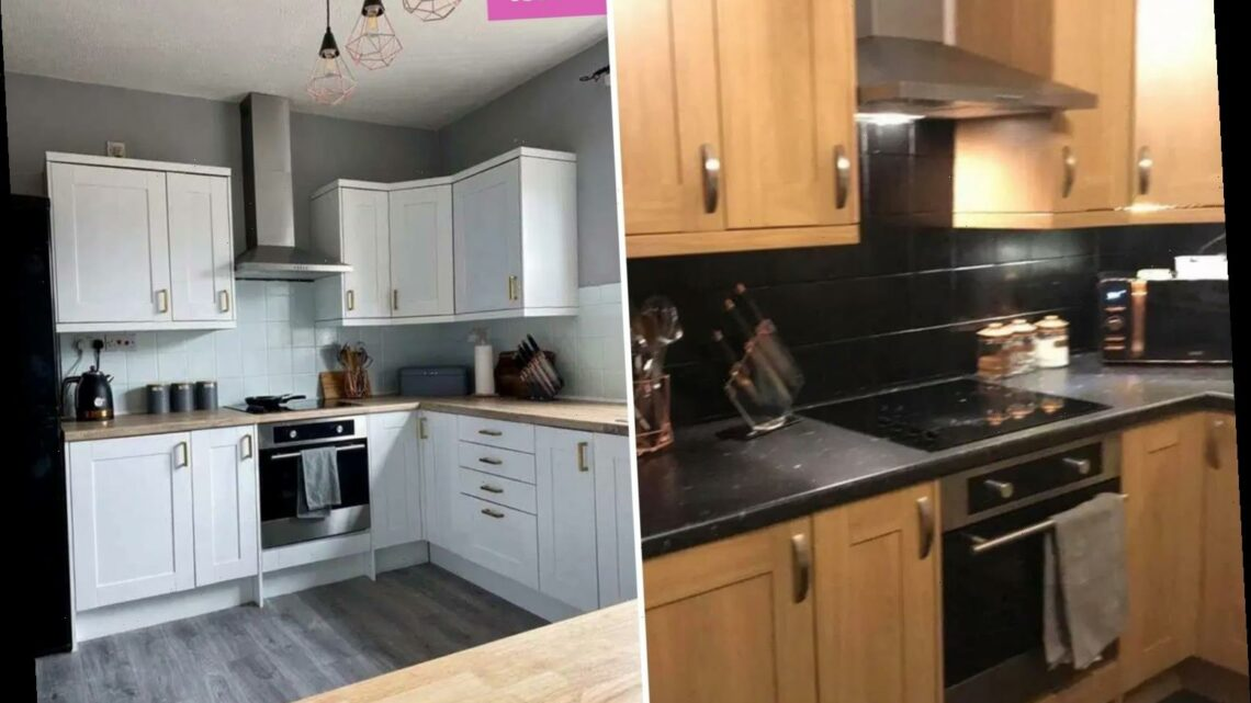 Woman transforms her bland, boring kitchen into a bright and modern space for just £90