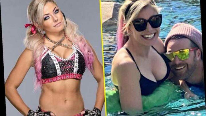 WWE star Alexa Bliss drops jaws in tiny black bikini as she soaks up rays in the pool with her music star boyfriend