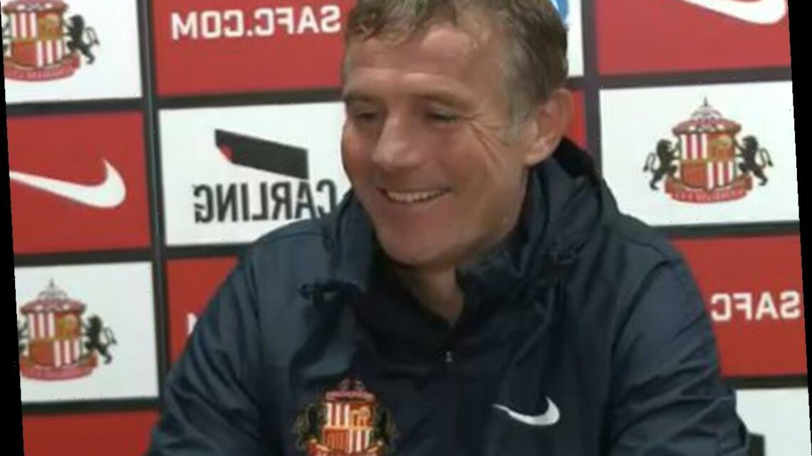 Moment Sunderland press conference is interrupted by journalist saying 'you're very cheeky' after forgetting to mute mic