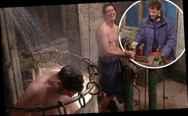 Jordan North and Vernon Kay help each other shower on I'm A Celeb