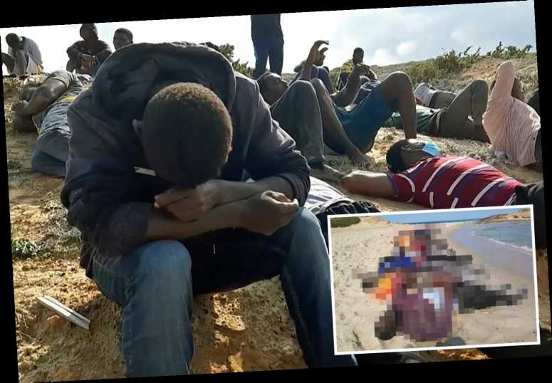 Sobbing migrant survivors sit by dozens of bodies as sinkings kill 110 after evil smugglers pack them onto flimsy boats