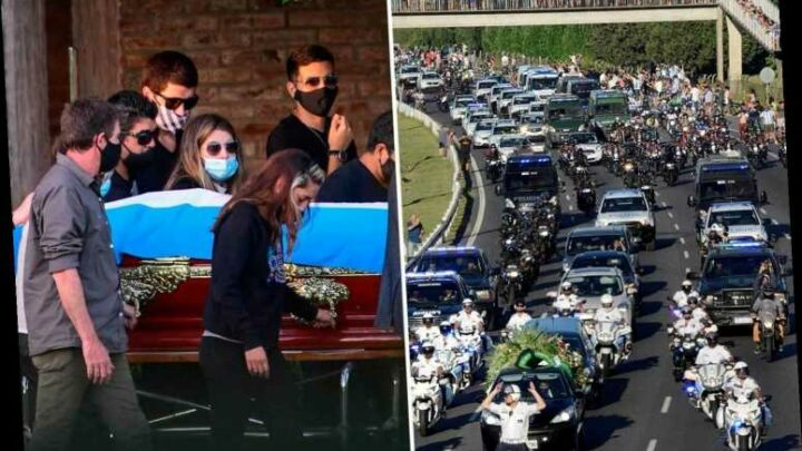 Mourners line the streets as Diego Maradona's coffin is driven to the football legend's funeral in Buenos Aires