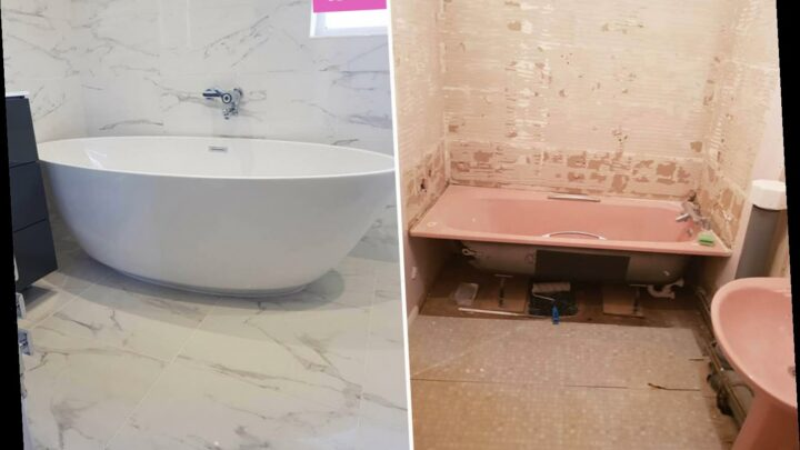 DIY fan transforms her crumbling pink bathroom into a luxury suite using bargains from eBay